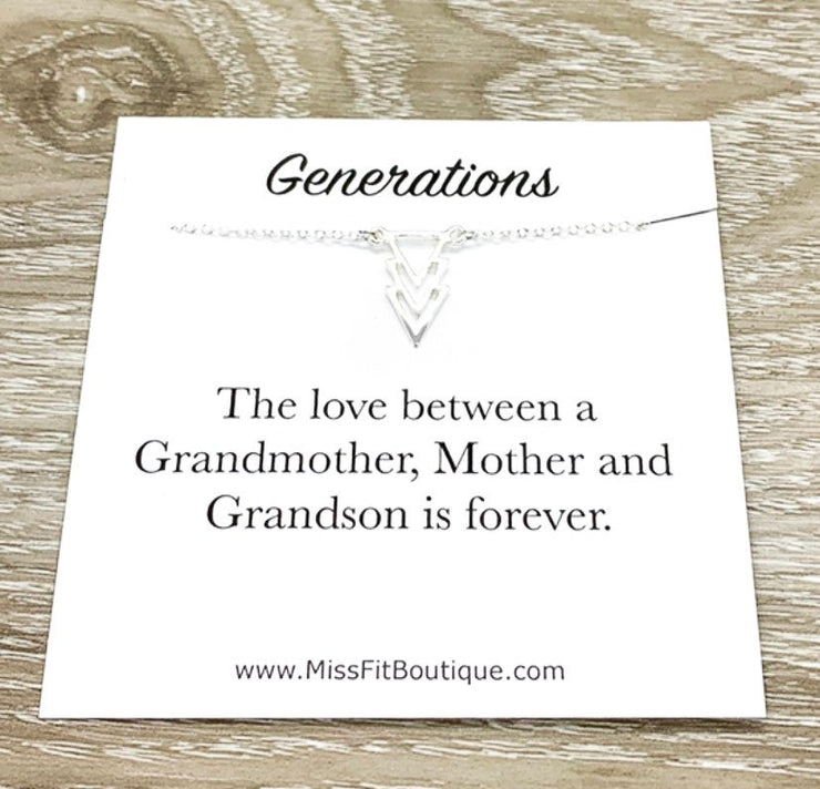 Three Generations Gift, Arrow Necklace, Grandson Mother Grandmother, Grandma Necklace, Gift from Grandson, Minimal Jewelry