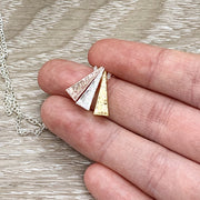 Three Generations Gift, Tri-Tone Triangle Necklace, Granddaughter Mother Grandmother, Grandma Necklace, Gift from Granddaughter