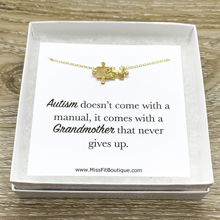Grandma Necklace, Autism Grandmother Gift, Rose Gold Puzzle Necklace, Silver Puzzle Jewelry, Autism Awareness Necklace, Jigsaw Puzzle Gift