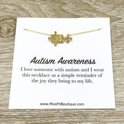 Autism Awareness Necklace, Autism Mother Gift, Rose Gold Puzzle Necklace, Silver Puzzle Jewelry, Jigsaw Puzzle Gift, Birthday Gift, Holiday