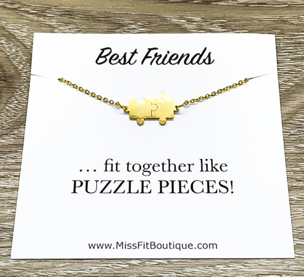 Double Bracelet, Best Friends Gift, Dainty Jigsaw Puzzle Pendant, Bestie Gift, Friendship Bracelet, Friend Holiday Gift, Fit Together Like
