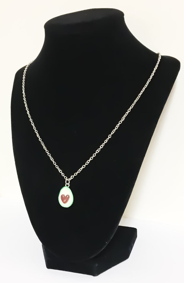 Green Avocado with Heart Pit Necklace