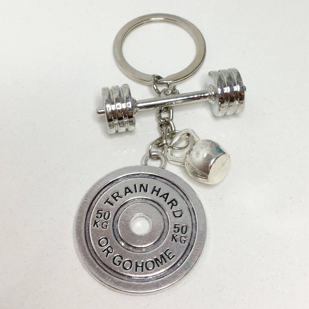 Keychain - Train Hard Or Go Home Keychain, Barbell, Kettlebell, Weight Plate Fitness Keychain