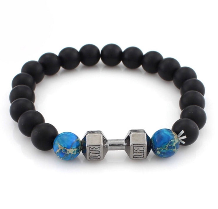LIVE, LIFT, Blue, Black Bead Bracelet, Fitness Bracelet, Dumbbell, Weightlifting, Gift Ideas, Birthday, Beaded Bracelet, Gym, Fitness Gifts,