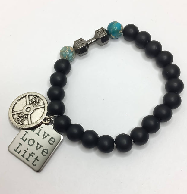 LIVE, LIFT Fitness Bracelet, Weightlifting, Bodybuilding, Fitness Jewelry, Beaded Bracelet, Gift Idea, Gym Jewelry, Motivation Fitness Gifts