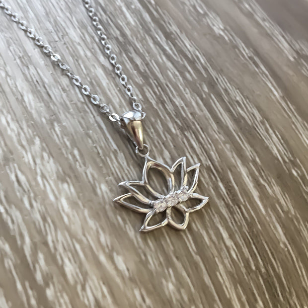 Lotus Flower Necklace, Dainty Silver Flower Necklace, Sterling Silver Necklace, Lotus Flower Gifts, Yoga Jewelry, Best Friend Gift, Birthday