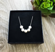 Multiple Pearl Necklace, Dainty Pearls Necklace, Friendship Gift, Sterling Silver, Bridesmaid Gift, Minimalist Jewelry, Birthday, Wedding