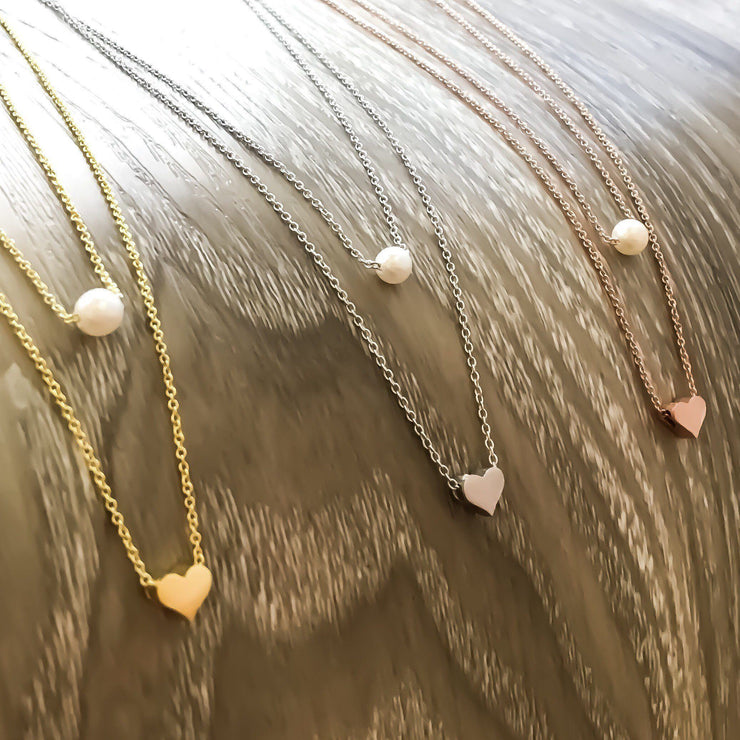 Rose Gold Layered Necklace, Dainty Gold Necklace, Tiny Heart Pendant, Pearl Pendant, Friendship Necklace, Gift For Her, Birthday, Bestfriend
