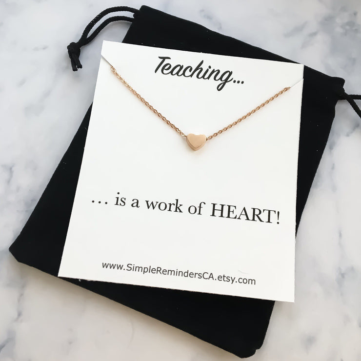 Teacher Appreciation Necklace Card, Tiny Silver Heart Necklace, Dainty Heart Necklace, Minimalist Teaching Necklace, Gifts From Student,