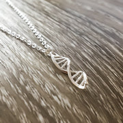 Tiny DNA Necklace, Dainty Sterling Silver Pendant, Double Helix Jewelry, Biology Necklace, Medical Student Gift, Science, Doctor, Nurse Gift