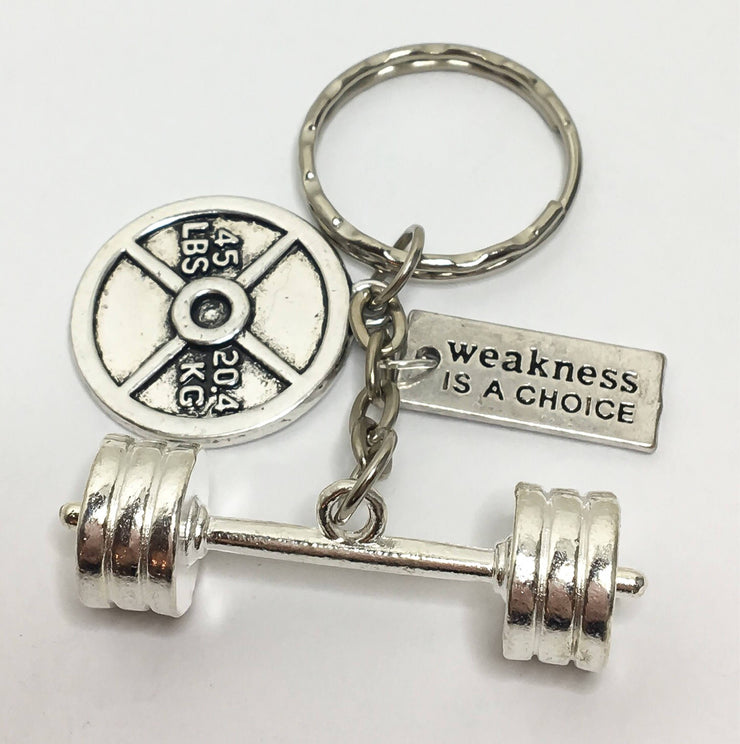 Weakness Is A Choice Keychain, Motivation, Weightlifting, Bodybuilding, Barbell, Weight Plate, Fitness Charms, Gift Ideas, Fitness Jewelry,