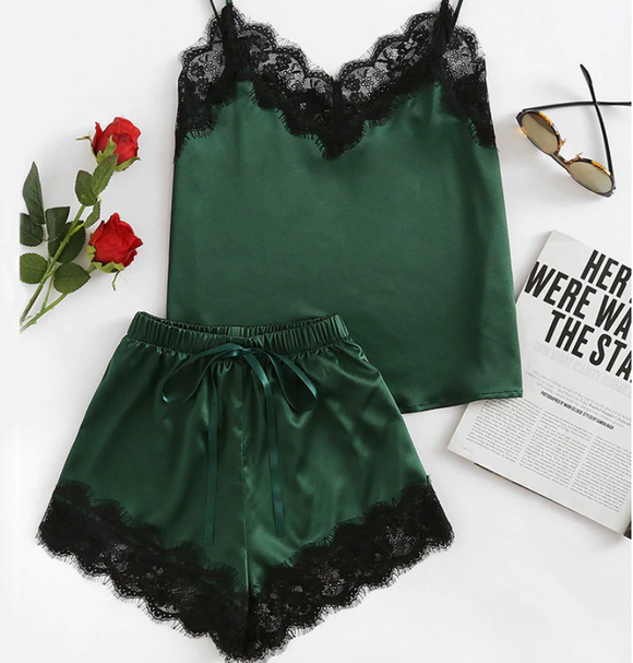 Army Green Satin Cami Top and Shorts