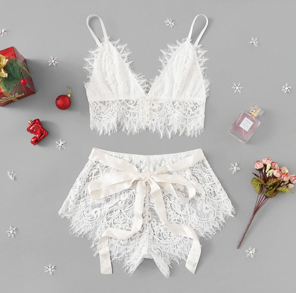 White Tie Christmas Lace Lingerie Set