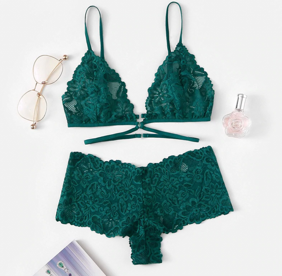 Forest Green Floral Lacey Lingerie Set