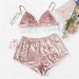Dusty Pink Velvet Cami Top & Shorts