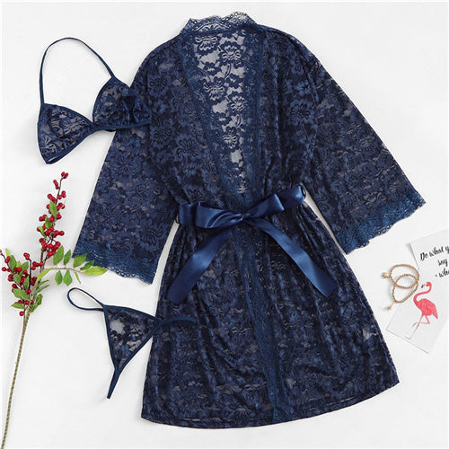Navy Floral Lace Coat Robe with Lingerie Set