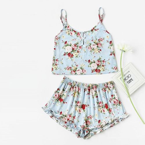 Blue Flower Print Ruffle Shorts Pajama Set