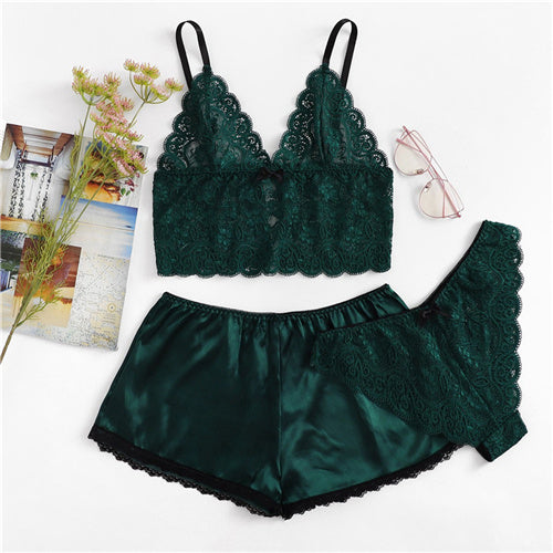 Floral Lace Cami Top & Satin Shorts Set