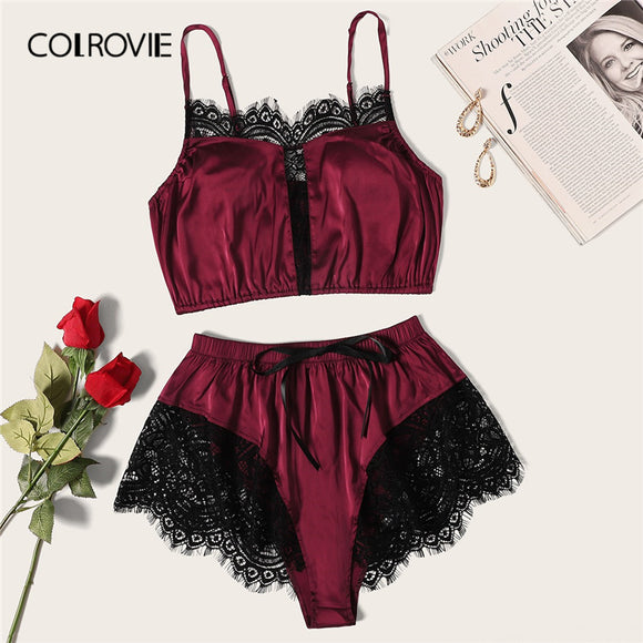 COLROVIE Burgundy Floral Lace Satin Lingerie Set 2019 Summer Bralettes Shortie Sexy Sets Ladies Bra And Panty Underwear Set