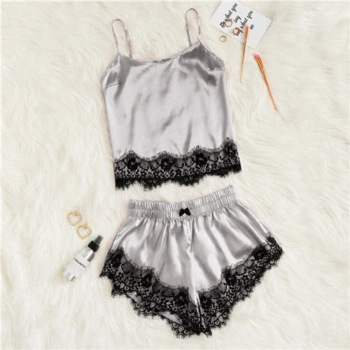 Silver Scallop Lace Satin Cami Top & Shorts
