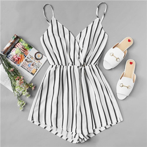 Casual Wrap Vertical Striped Romper