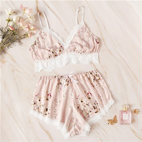 Pink Floral Print Striped Satin Two Piece Set