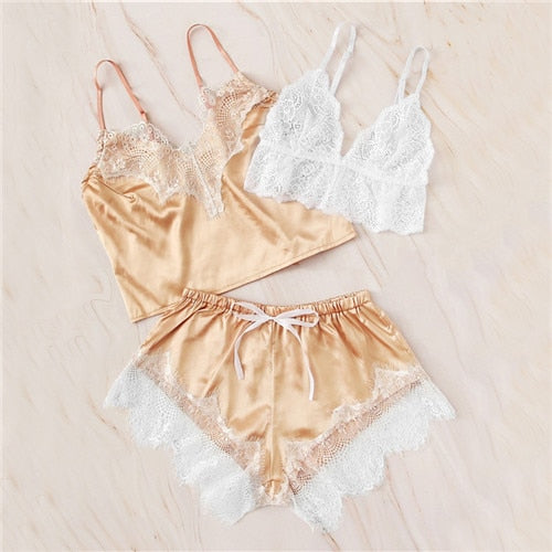 Floral Lace Satin Lingerie Set