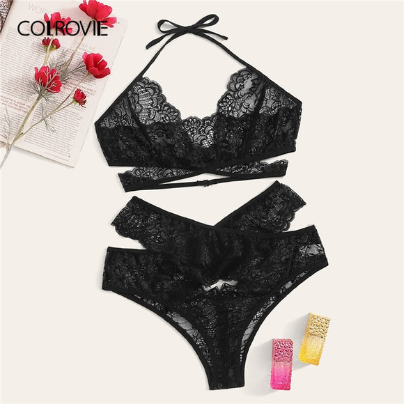 COLROVIE Plus Size Black Lace Halter Cut Out Lingerie Set Women Intimates 2019 Summer Sexy Bra And Panty Female Underwear Set