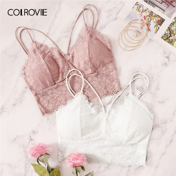 COLROVIE Floral Lace Criss Cross Bra Set 2pack Women Intimates 2019 Sexy Solid Bralettes Female Underwear Bras Lingerie Set