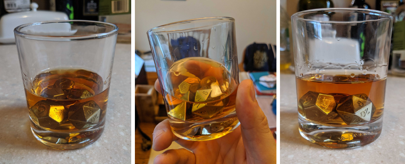Stainless Steel Dice in Whisky