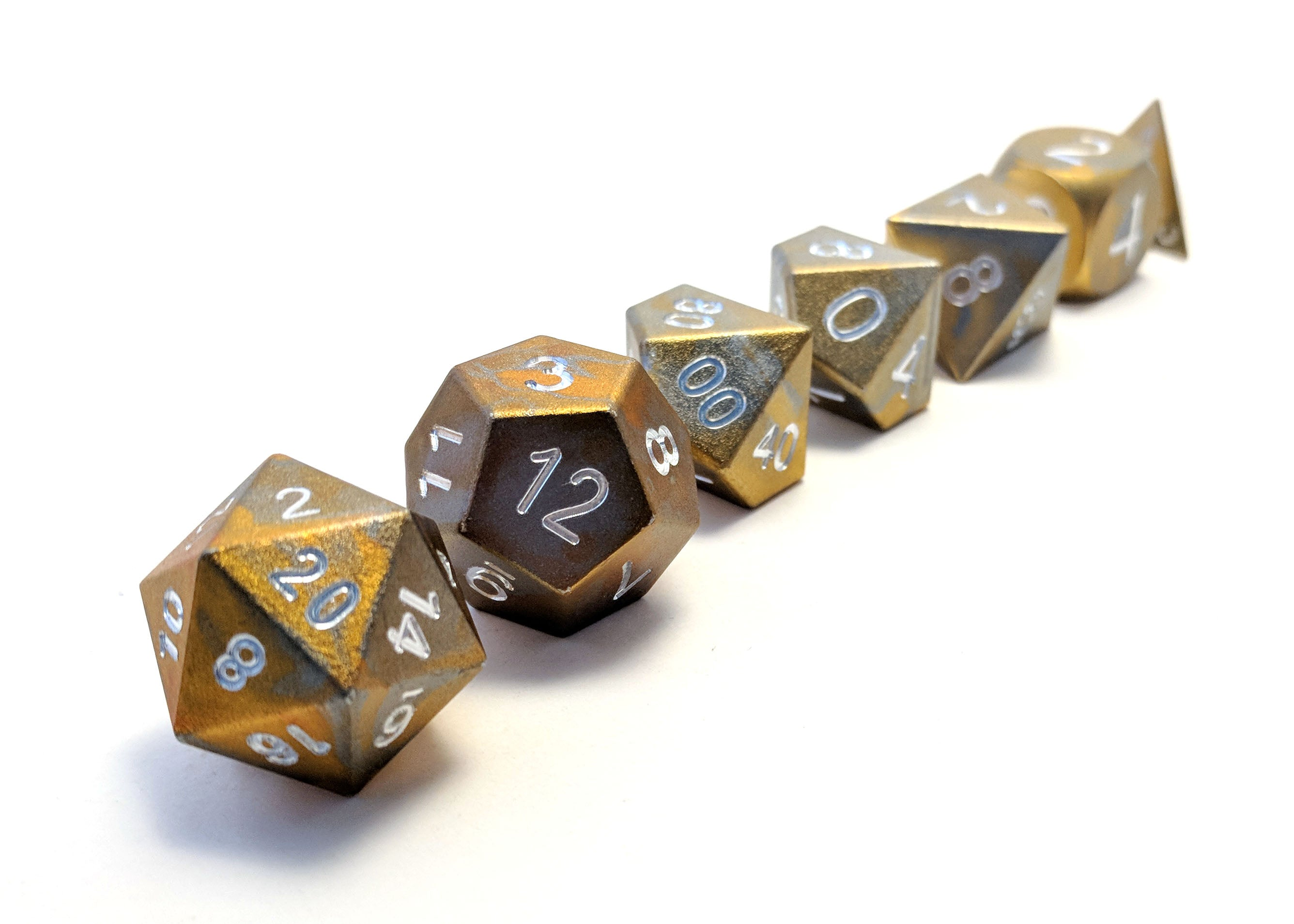 Tarnished Gold Round Aluminium Dice Set