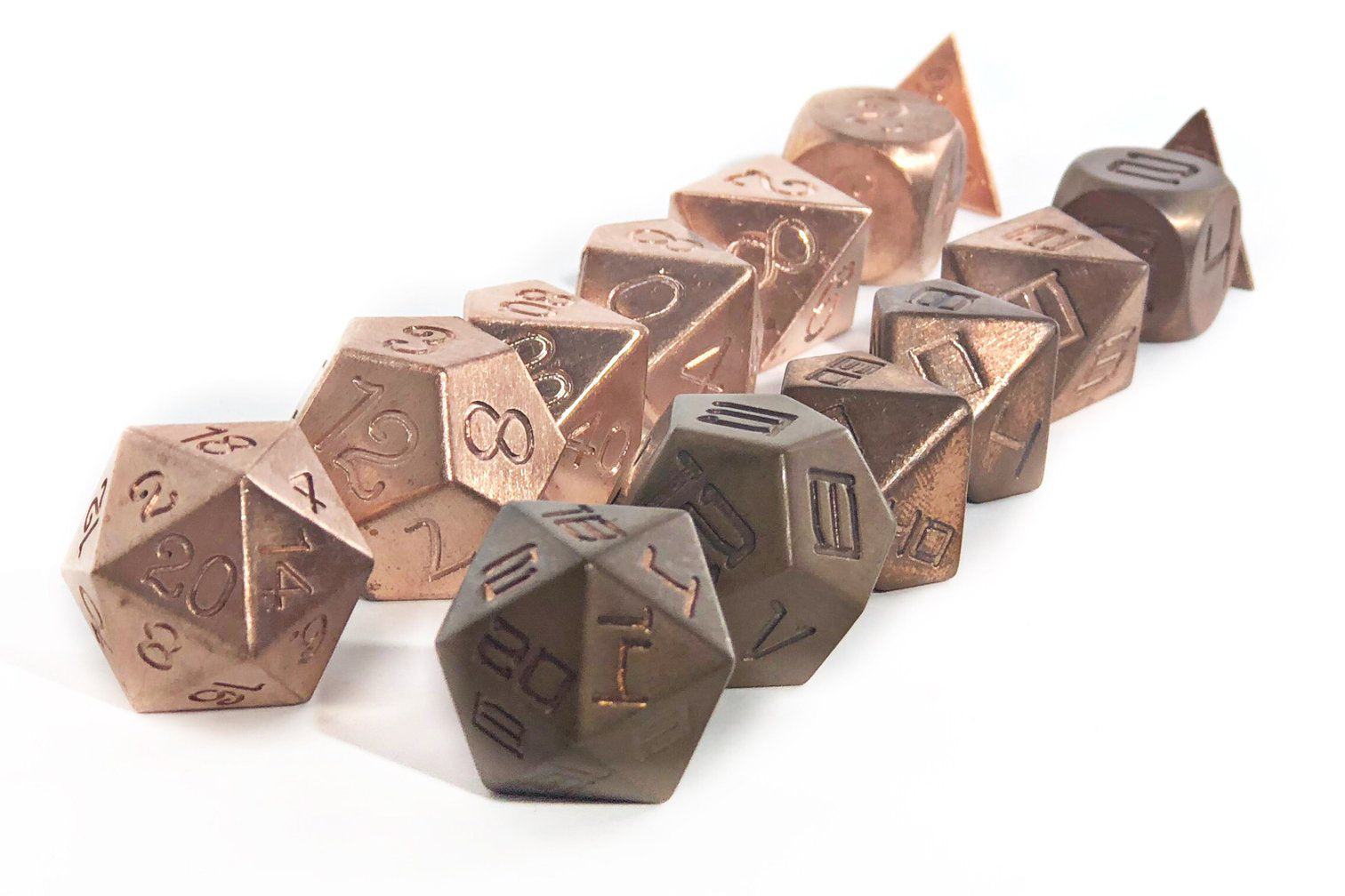 Copper dice set, new and tarnished