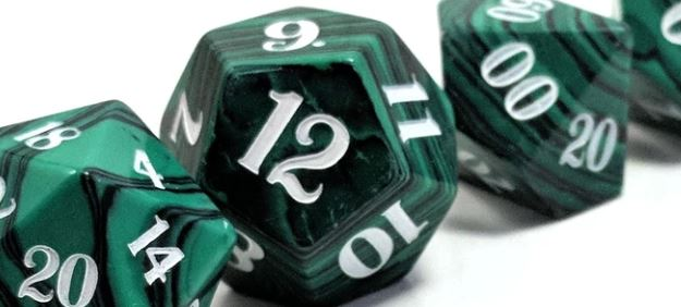 Close up of Level Up Dice Malachite D20 Dice