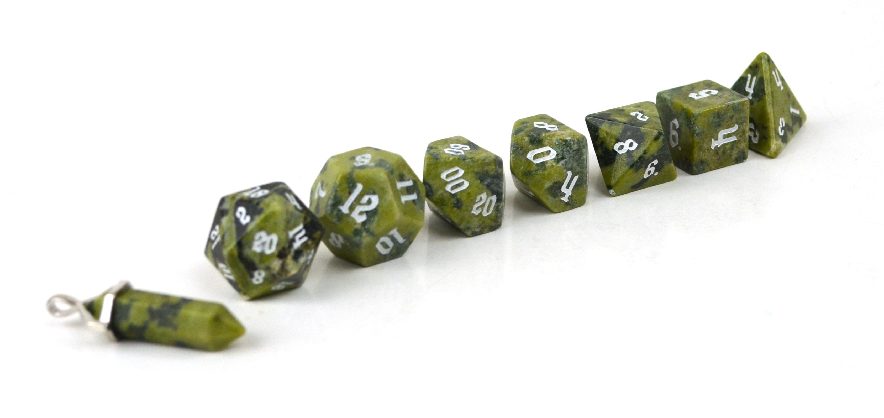 African Jade Hand Carved Semi-Precious Stone Dice Set