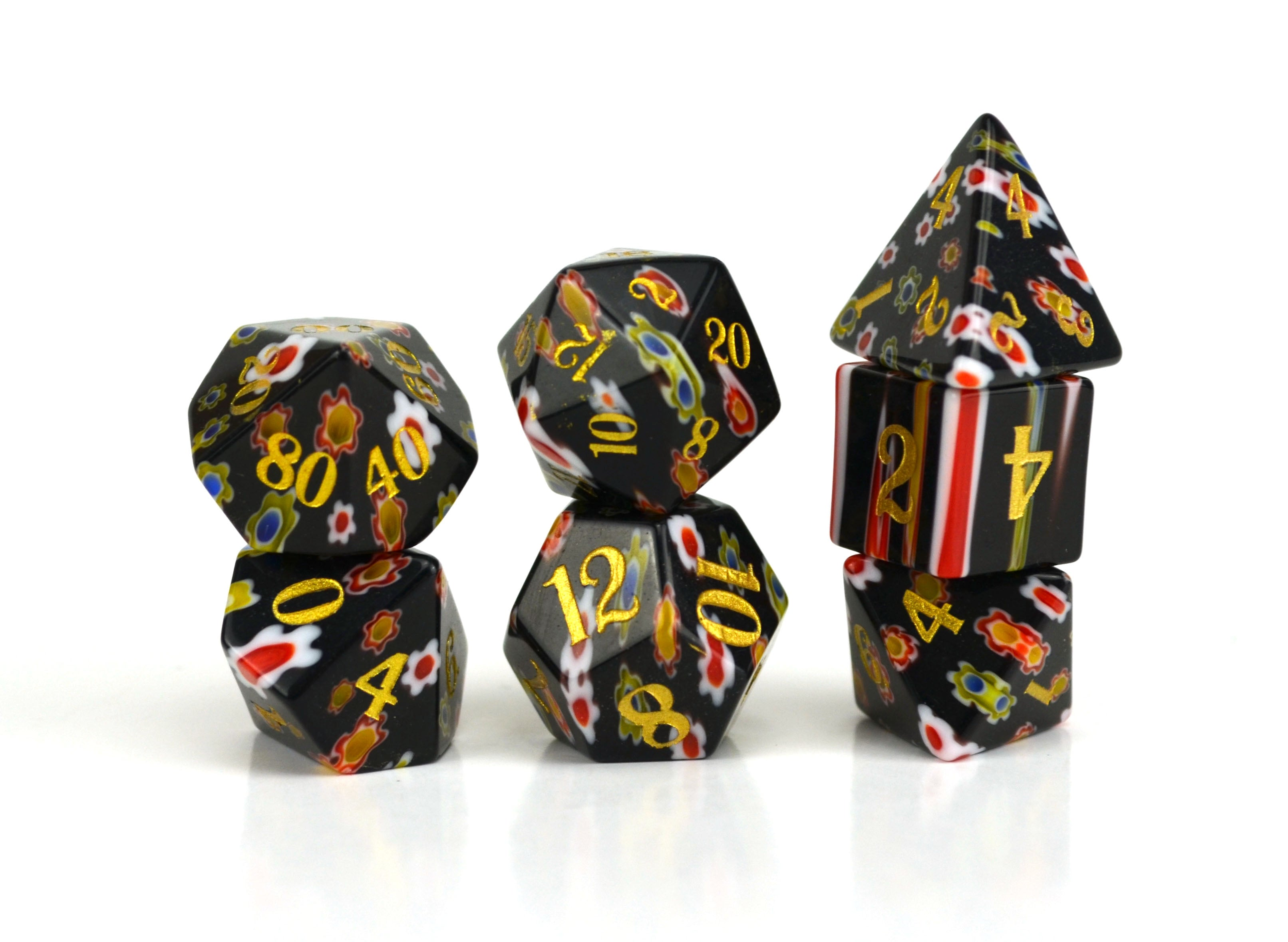 Dahlia Candy Glass Dice (JD) Set of 7