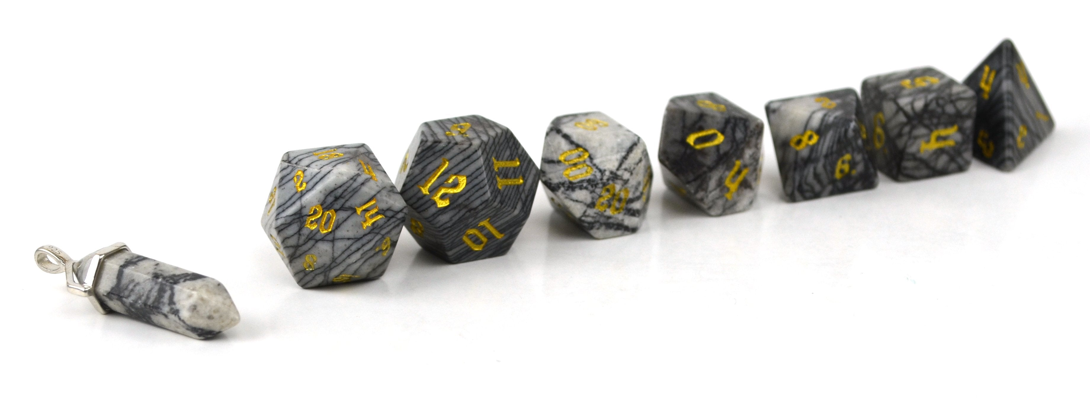 Black Network Agate Semi Precious Stone Dice Set