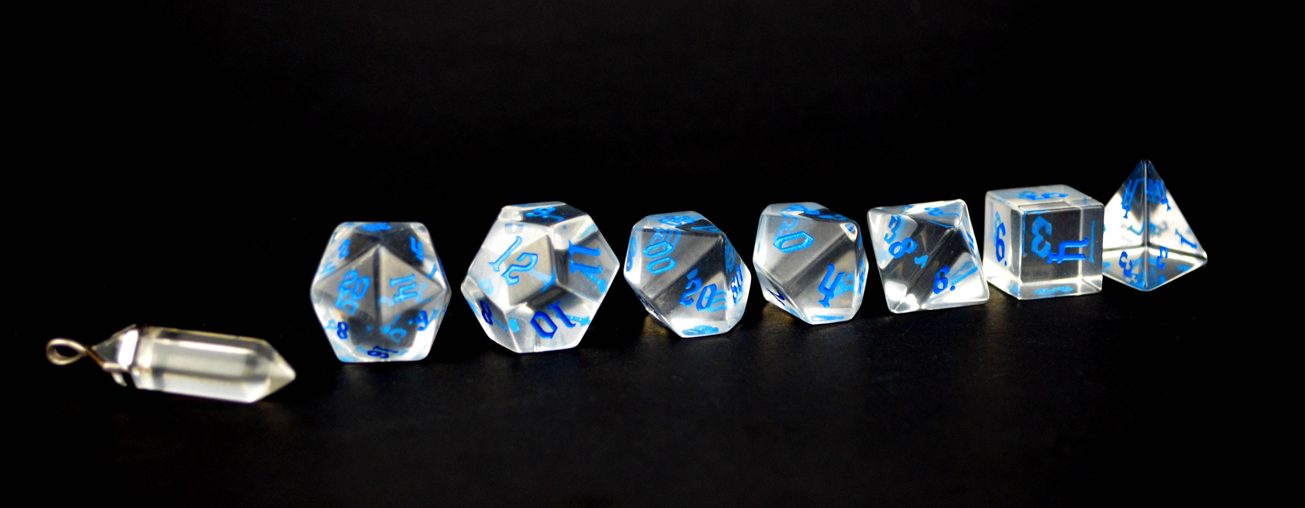 Crown Crystal Blue Script Set of 7