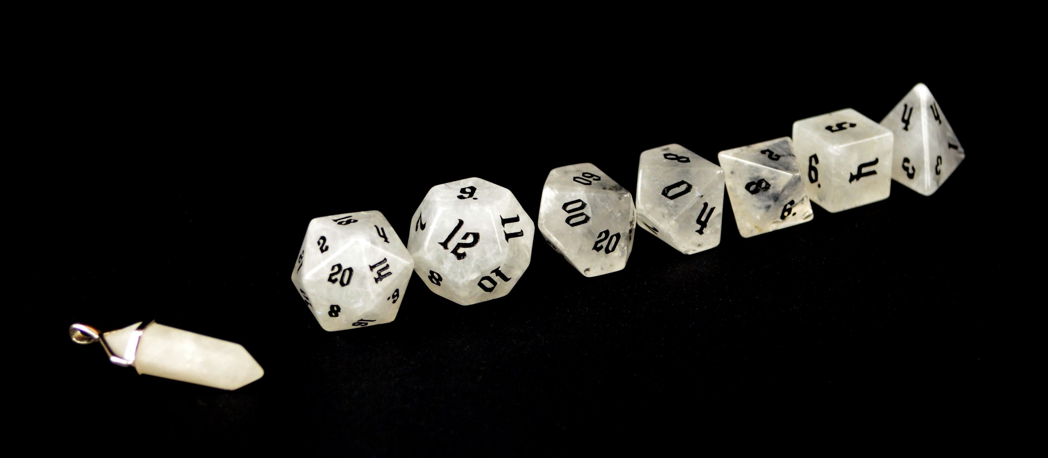 Clear Quartz Semi Precious Stone Dice Set