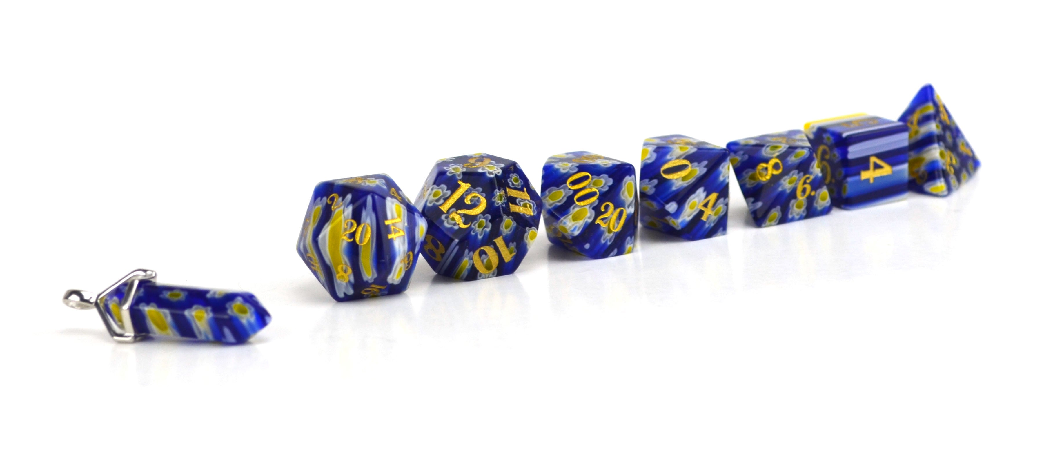 Bluebonnet Candy Glass Dice (JD) Set of 7