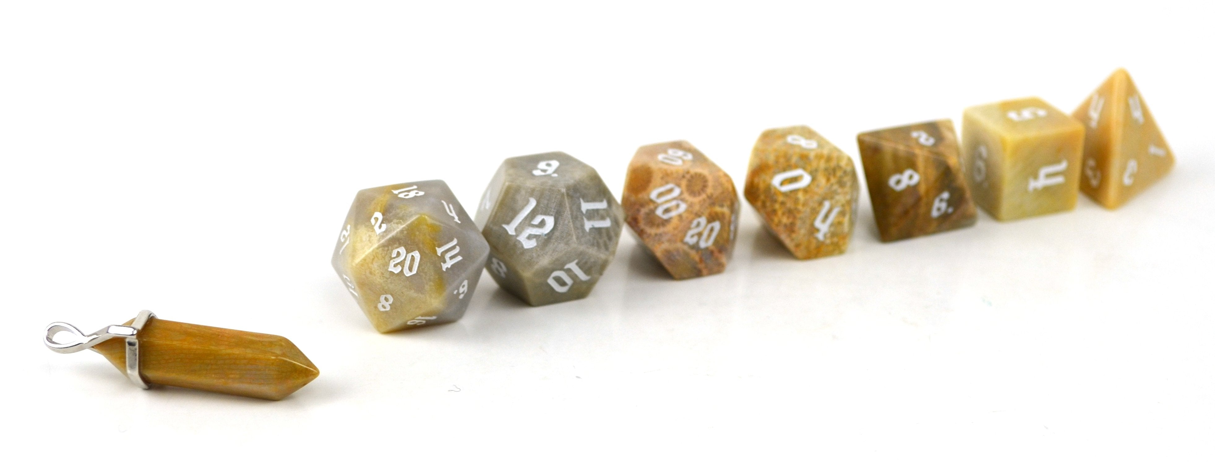 Fossilized Coral Semi Precious Stone Dice Set