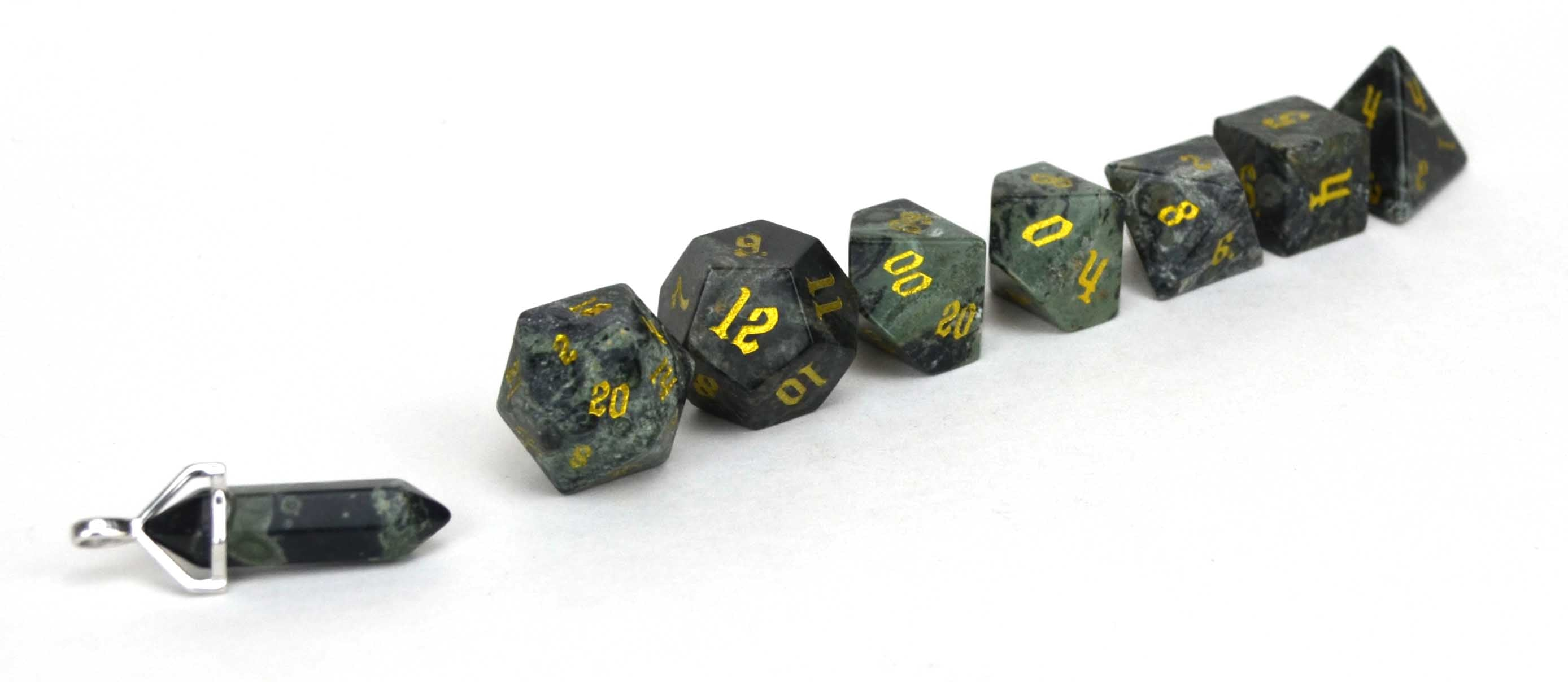 Kambaba Jasper Semi Precious Stone Dice Set of 7