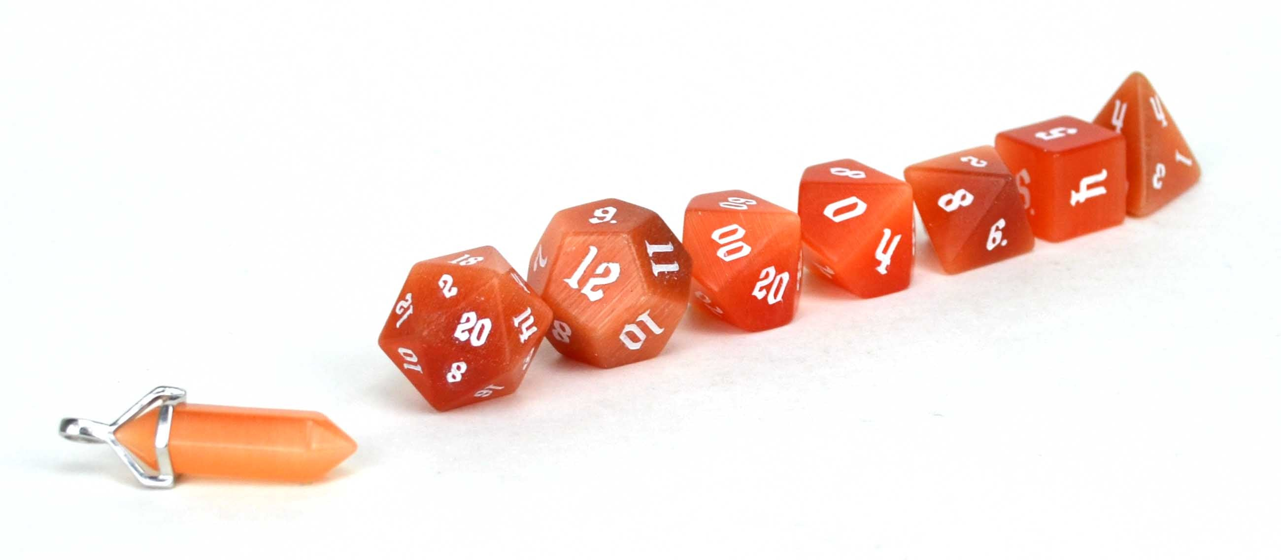 Orange Cat's Eye Semi Precious Stone Dice Set of 7