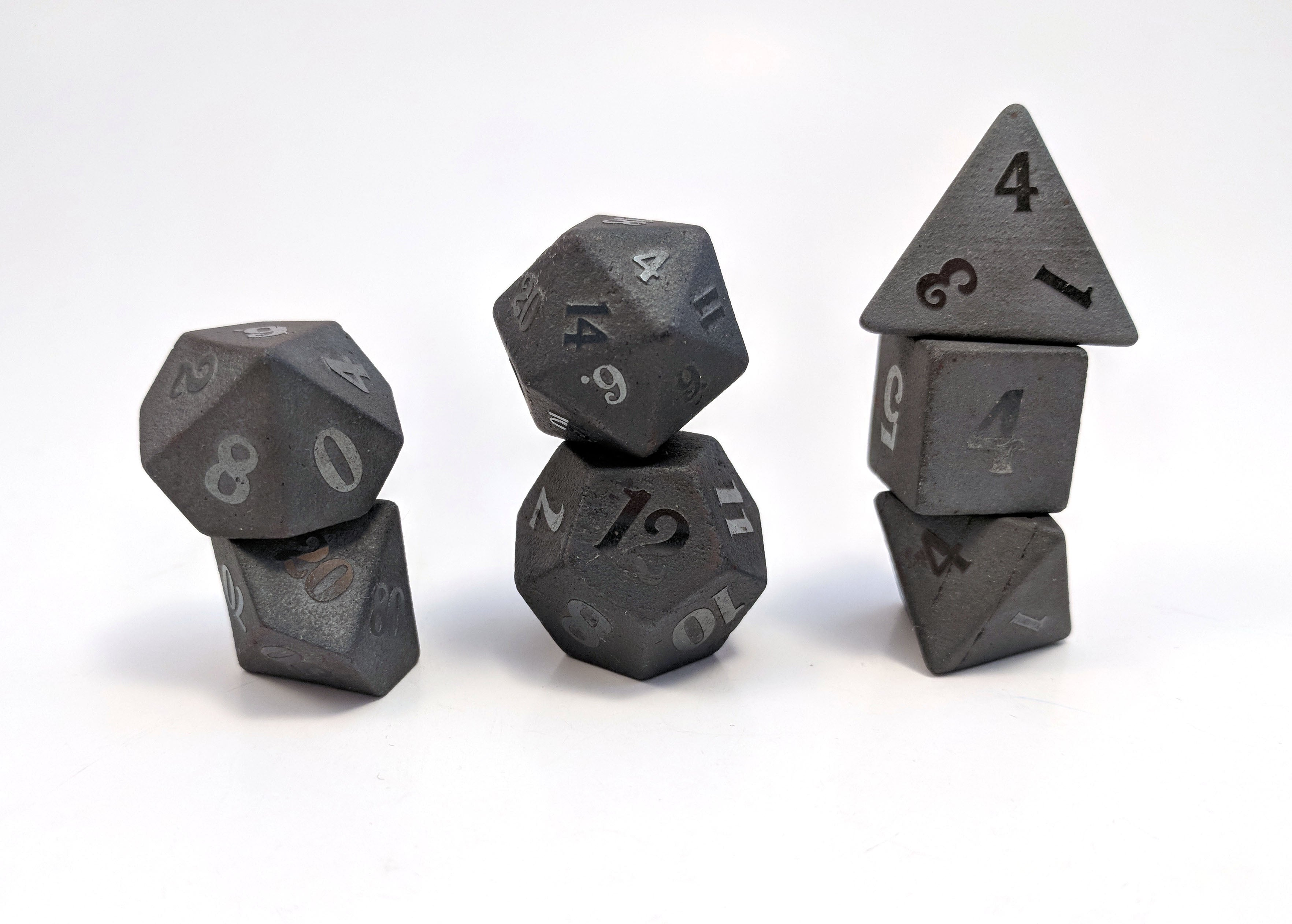 Raised Hematite Semi Precious Stone Dice Set