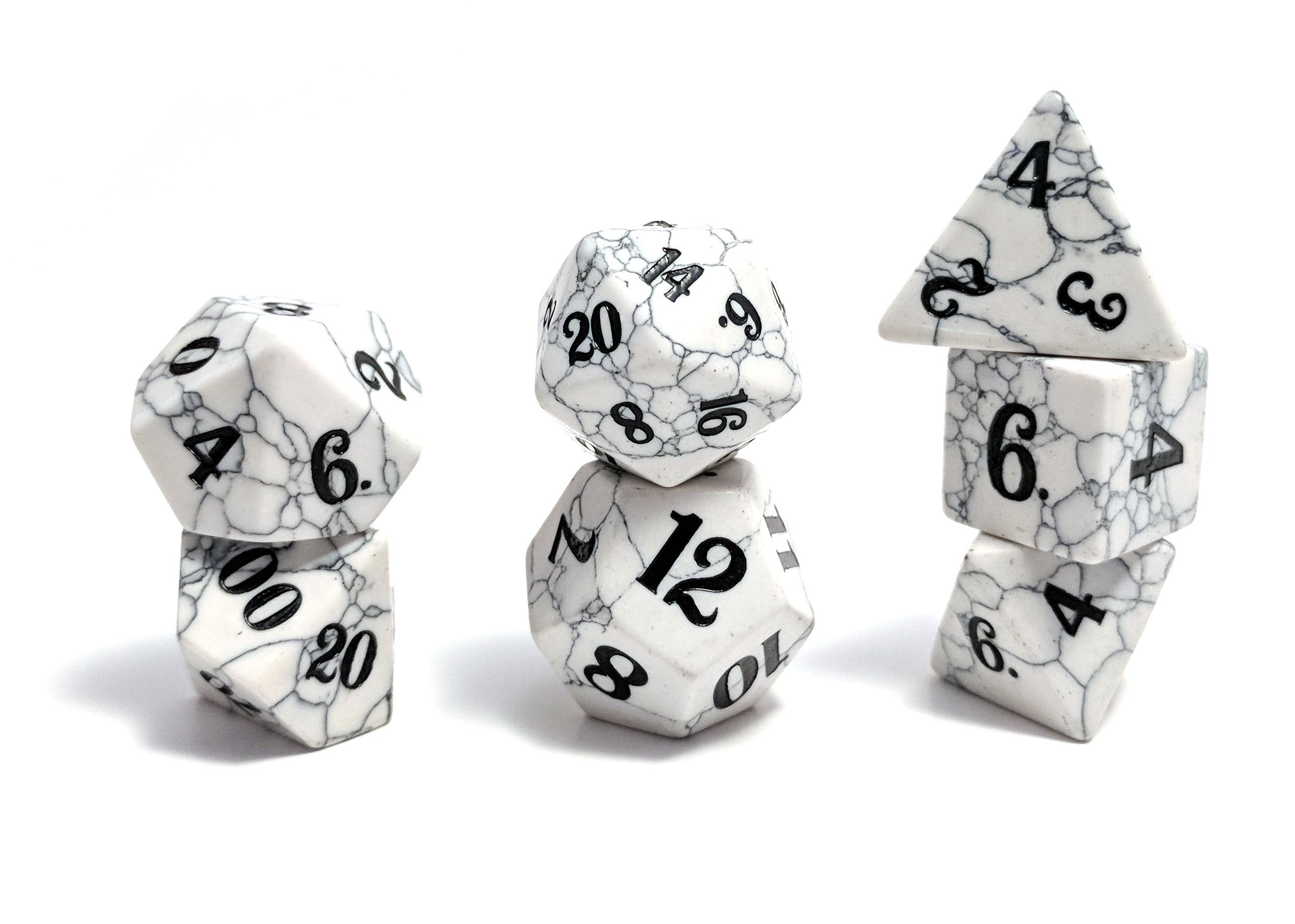 Howlite Hand Carved Semi-Precious Stone Dice Set