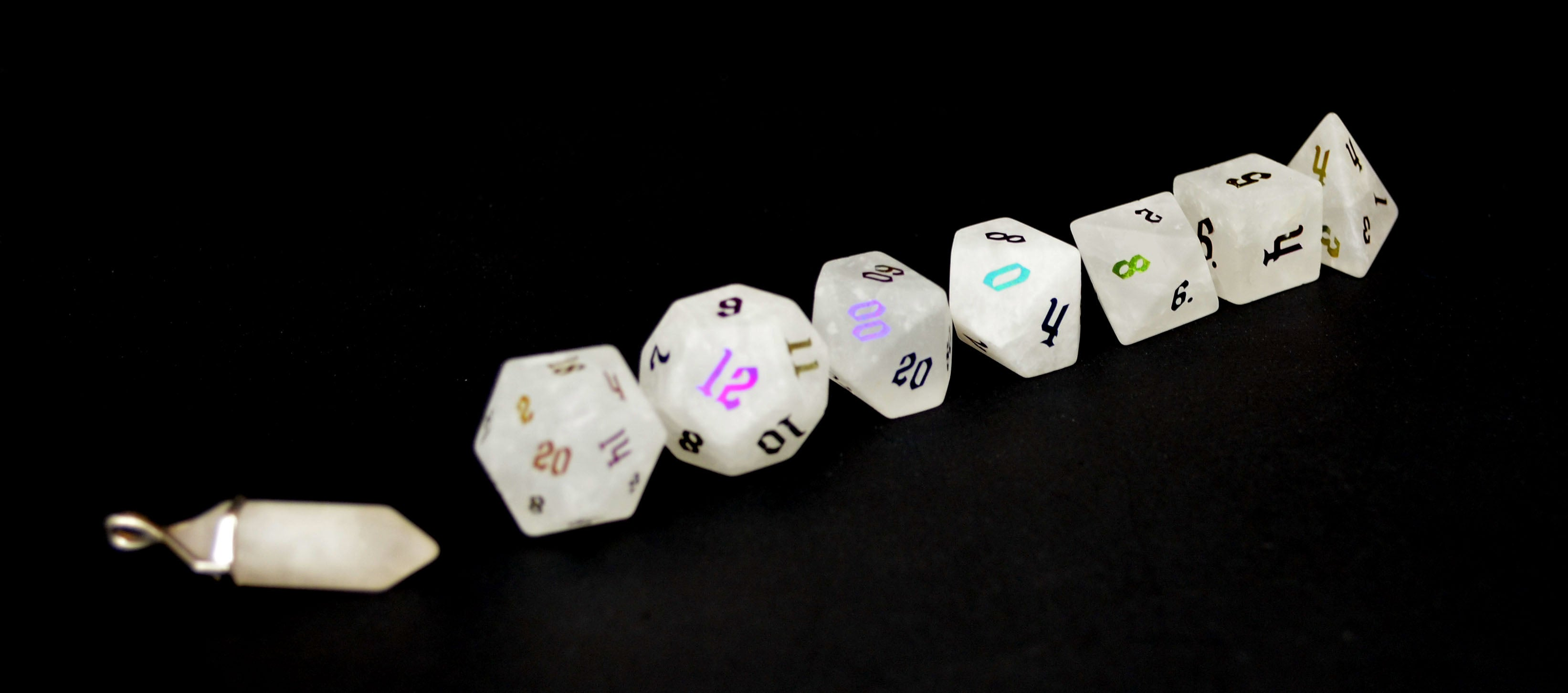 Ionized Clear Quartz Semi Precious Stone Dice Set of 7