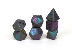 Ionized Shadow Masque Hematite Semi Precious Stone Dice Set of 7