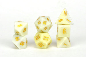 Ivory Jade Semi Precious Stone Dice Set of 7