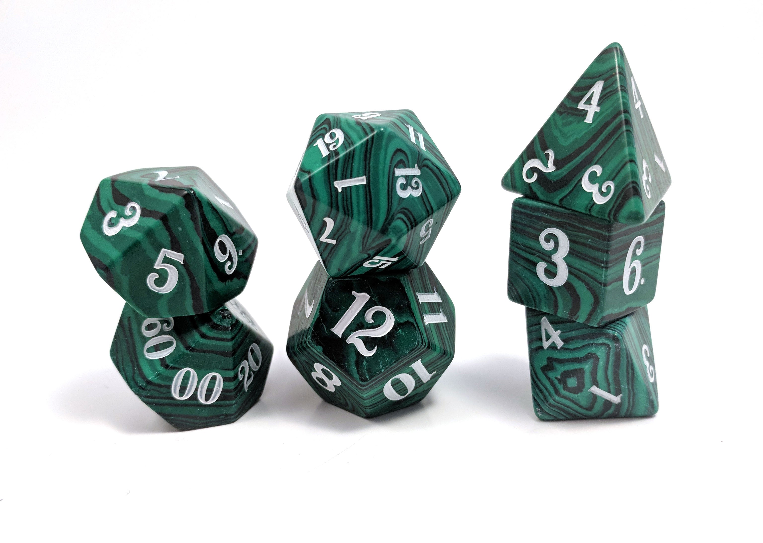 Malachite Semi Precious Stone Dice Set