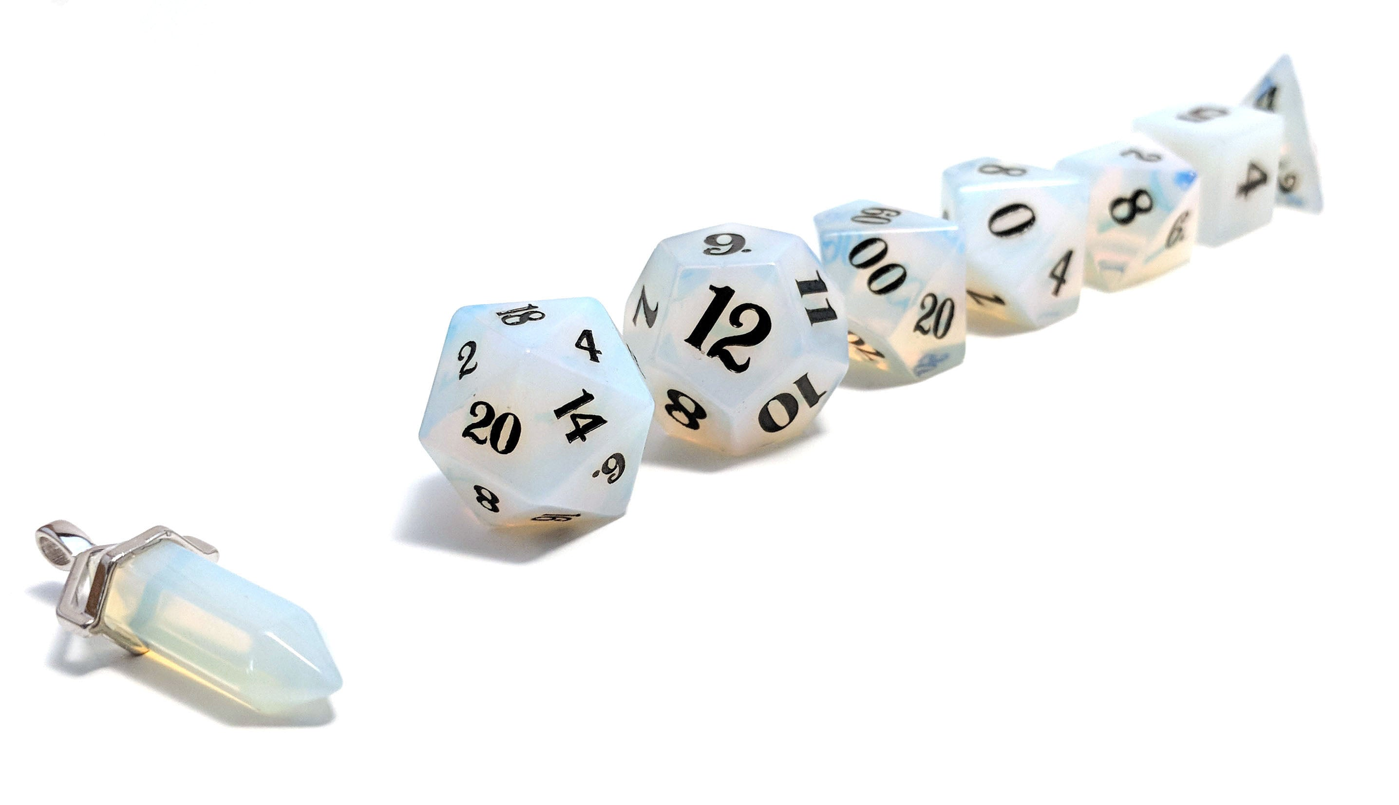 Opalite Hand Carved Semi-Precious Stone Dice Set