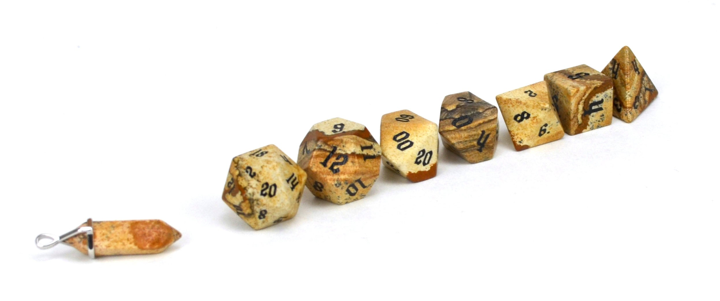 Picture Jasper Semi Precious Stone Dice Set of 7